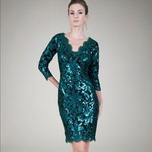 Tadashi Shoji Blue Sequin Black Dress Size 2